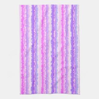 Pink and Purple Spattered Fractal Stripes Tea Towel