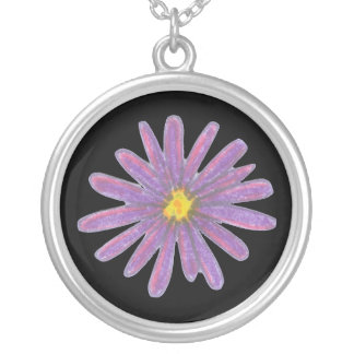 Pink and Purple Spiky Flower Round Pendant Necklace