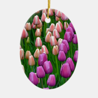 Pink and purple spring tulips ceramic oval decoration