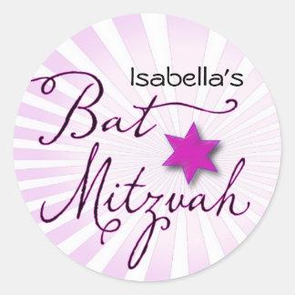 Pink and purple starburst Bat Mitzvah Classic Round Sticker