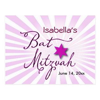 Pink and purple starburst Bat Mitzvah Postcard