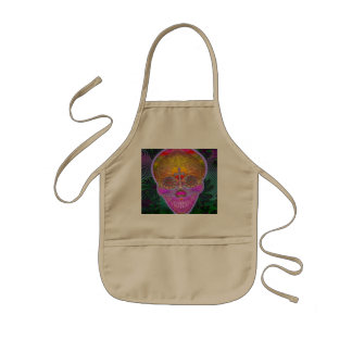 Pink and Purple Sugar Skull with Cross and Flowers Kids Apron