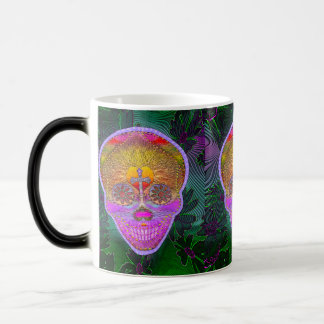 Pink and Purple Sugar Skull with Cross and Flowers Magic Mug