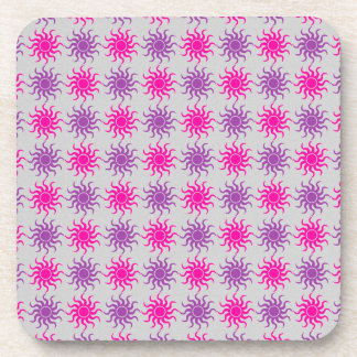 Pink and purple sun pattern illustration beverage coasters