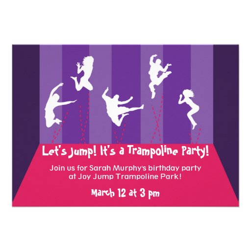 Pink and Purple Trampoline Party Inviation Invitations