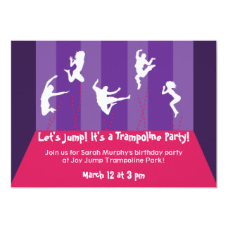 "Pink and Purple Trampoline Party Inviation 5"" X 7"" Invitation Card"