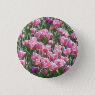 Pink and Purple Tulip Garden 3 Cm Round Badge