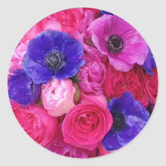 Pink and Purple, Vibrant Floral Stickers / Seals