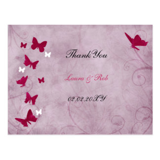 pink and purple vintage butterfly Thank You Postcards