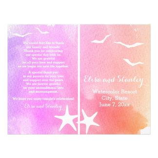 Pink and purple watercolor beach wedding program flyer
