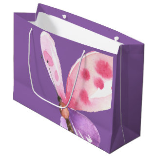 Pink and Purple Watercolor Butterfly Large Gift Bag