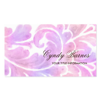Pink and Purple Watercolor Plume Business Card
