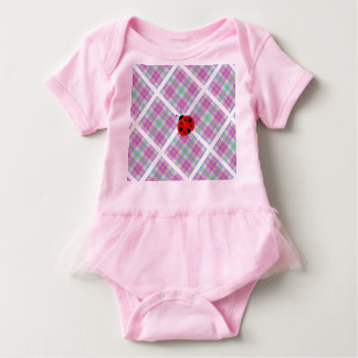 Pink and Purple With Red Lady Bug Baby Bodysuit