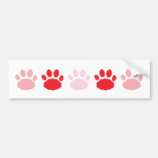 Pink and Red Animal Paw Prints Valentine's Day Bumper Sticker