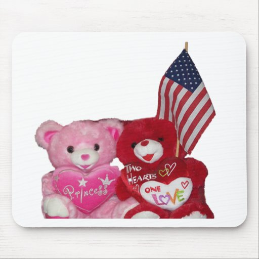 Pink And Red Bears With American Flag Mouse Pad