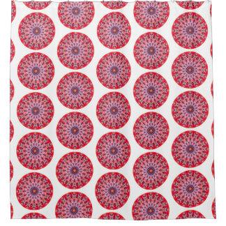 Pink and Red Boho Round Mandala (Lg Print) Shower Curtain