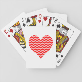 Pink and Red Chevron Heart Playing Cards