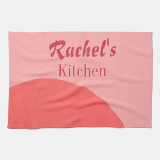 Pink and Red Customizable Tea Towel