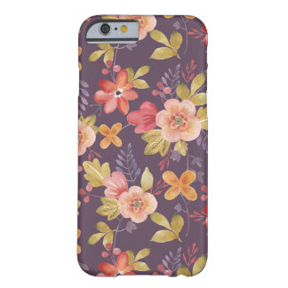 Pink and Red Floral Pattern on Purple Background Barely There iPhone 6 Case