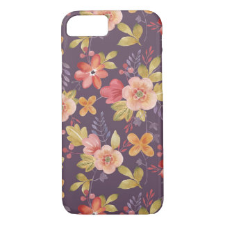 Pink and Red Floral Pattern on Purple Background iPhone 7 Case