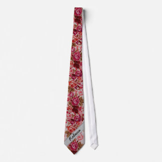 Pink and Red Floral Rose Paint Monogram Tie