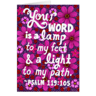 Pink And Red Flowers Typography Bible Verse Greeting Card