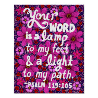 Pink And Red Flowers Typography Bible Verse Poster