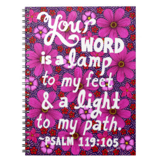 Pink And Red Flowers Typography Bible Verse Spiral Note Book