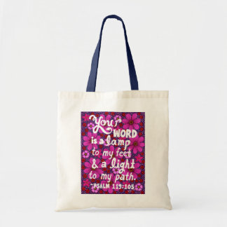 Pink And Red Flowers Typography Bible Verse Tote Bag