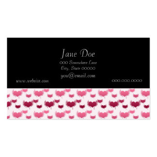 Pink and Red Flying Hearts Business Card Template