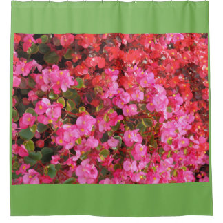 Pink and Red Garden Flowers Shower Curtain