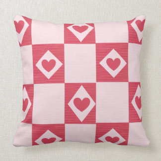 Pink and Red Heart Pattern Accent Throw Pillow