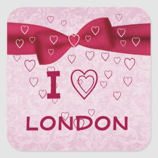 Pink and Red Heart with Bow - I Heart Love London Square Sticker