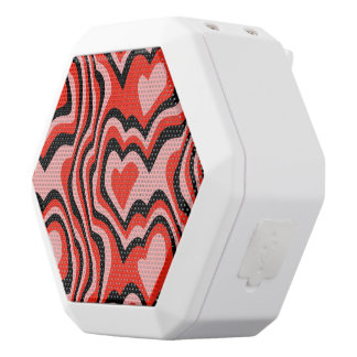 Pink and Red Hearts White Boombot Rex Bluetooth Speaker