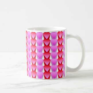 Pink and Red Hearts in a Row Coffee Mug