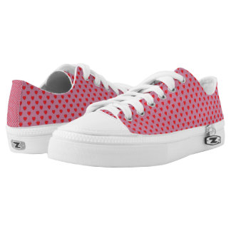 Pink And Red Hearts Polka Dot Pattern Low Tops