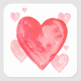 Pink And Red Hearts Watercolor Love Sticker