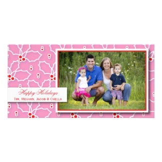 Pink and Red Holly  |  Holiday Photo Card