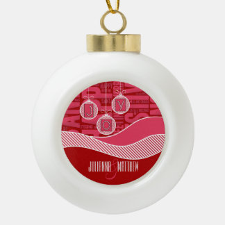 Pink and Red Joy | Holiday Ceramic Ball Decoration