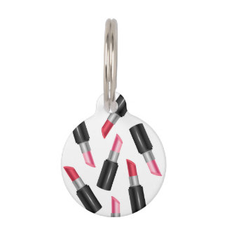 Pink And Red Lipstick Pattern Cute Makeup Pet Tag
