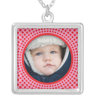 Pink and red photo necklace - customizable pendant