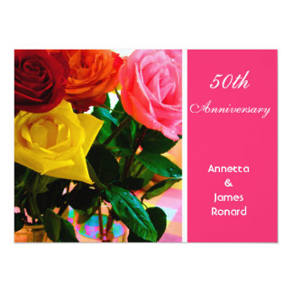 Pink and red rose flowers anniversary personalized invitation