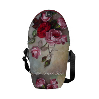 Pink and Red Roses Floral Mini Messenger Bag