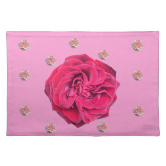 Pink and Red Roses on Pink Placemat