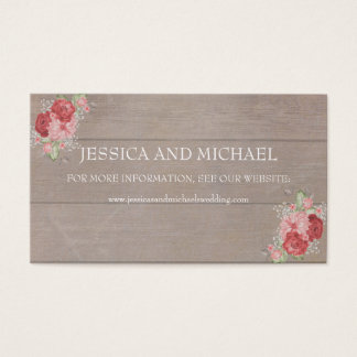 Pink and Red Roses on Rustic Wood Wedding Website Business Card