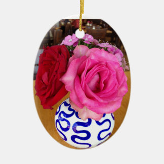 Pink and Red Roses Ornament