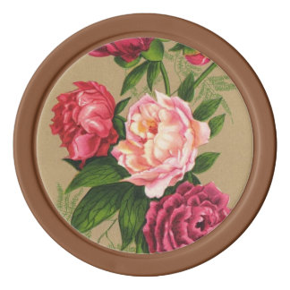 Pink And Red Roses Painting Poker Chips