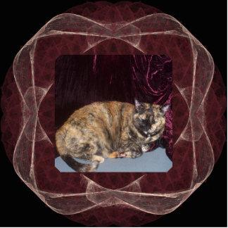 Pink and Red Sheer Ribbon Fractal Art Frame Photo Sculpture