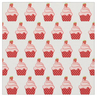Pink and Red Strawberry Cupcake Pattern Fabric
