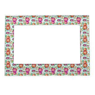Pink and Red Vintage Floral Pattern Magnetic Picture Frame
